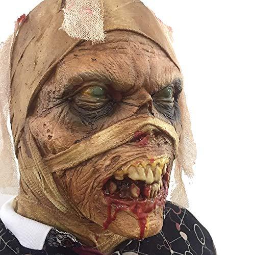 BANINA Halloween Maske Mumien-Kostüm Maske Latexmaske Spukhaus Deko Requisiten für Männer und Frauen (Mumie Maske Kostüm)