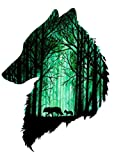 1 Stück Kinder Tattoo Aufkleber (entfernbar), Tattoo Sticker (Wolf Grün Wald)