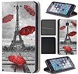 CoverHeld Hülle für Samsung Galaxy Xcover 4 Premium Flipcover Schutzhülle aus Kunstleder Flip Case Motiv (1107 Eifelturm Paris Frankreich Rot Grau)