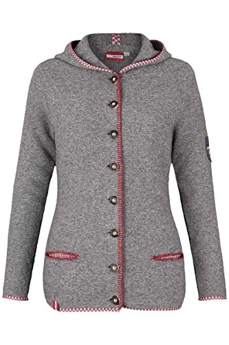 Damen h.moser Salzburg Damen Trachtenstrick-Jacke mit Kapuze grau rot lang, 0527 hellgrau, 40