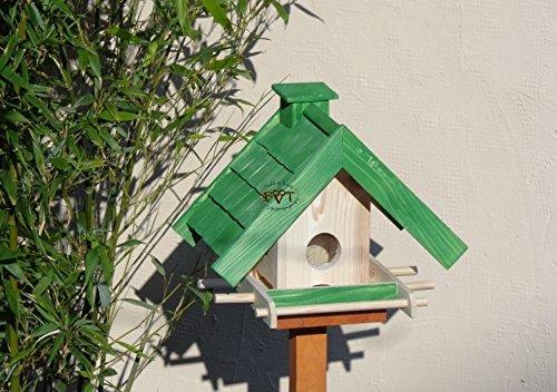 Vogelhaus mit Ständer BTV-X-VOWA3-MS-gras001 Schönes PREMIUM Vogelhaus mit Ständer KLASSIK-PREMIUM Vogelhaus 1,5 L Silo+ SICHTSCHEIBE RUND / GLAS, FUTTERVORRAT-SILO – VOGELFUTTERHAUS , wetterfestes Vogelfutterhaus MIT FUTTERSCHACHT-Futtersilo Futterstation Farbe grasgrün grün PURE GREEN kräftig tannengrün/natur, MIT TIEFEM WETTERSCHUTZ-DACH für trockenes Futter, mit Futterschacht zum Nachfüllen oben, 100% Massivholz, QUALITÄTSPRODUKT vom Schreiner - 2