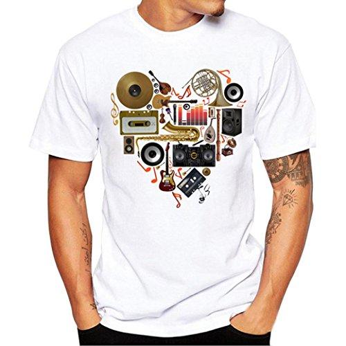 Angebote,Neue Deals,Herren T-Shirt Ronamick Männer Druck Tees Shirt Kurzarm T Shirt Bluse Slim Fit Casual Runde Kragen (Weiß, 4XL) - Neue Herren T-shirt Tee