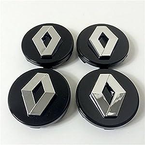 Set von 4RENAULT Rad Felgen Alufelgen-Radkappe Center (60mm, schwarz Chrome Badge Schwarz