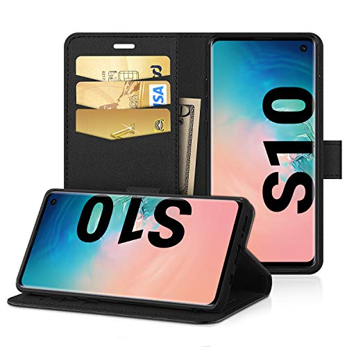 EasyAcc Hülle für Samsung Galaxy S10, Leder Wallet Case Flip Cover mit Kickstand Kartenfächer Kartenfächer Schwarz PU Leder kompatibel mit Samsung Galaxy S10 Wallet Case Cover