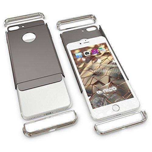 iPhone 8 Plus / 7 Plus Coque Protection de NICA, Hard-Case Housse Rigide Ultra-Fine Mat 3 Parties Etui, Slim Cover Bumper Anti-choc Mince pour Telephone Portable Apple iPhone 7+ / 8+ - Noir Gris