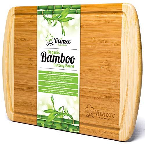Tabla de cortar de bambú ecológico EXTRA GRANDE - La mejor tabla de cortar con surco para la cocina