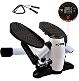 POWRX Step Set I Mini Stepper mit Springseil I Side Stepper LCD Trainingscomputer I Kalorien...