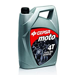 CEPSA 512863601 Moto 4T RUTA 66 20W50 Huile Minérale pour Moteurs à 4 Temps de Motos, 4 L