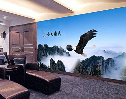 Poowef 3D Wallpaper 3D auf dem Kamm eines großen Wandgemälde nahtlose Wallpaper Wallpaper sofa Wand Büro Papier Adler, die Jugendlichen berufsvorbereitende Ausbildung (Kamm Nahtlose)