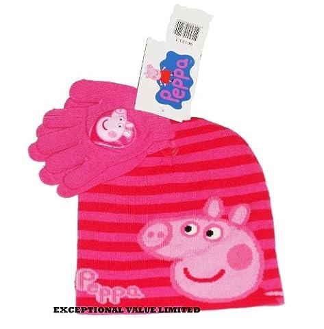 KIDS GIRLS CHILDREN PEPPA PIG BEANIE HAT GLOVES 2 PIECE