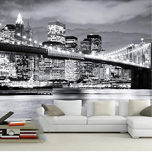 3D Aufkleber Wand Tapete Dekorationen Wandbilder Grafischer Hintergrund Moderne Stadt Europäische Und Amerikanische Nachtsichtbrücke Manhattan Wohnzimmersofa Kunst Mädchen Schlafzi (W)400X(H)280Cm