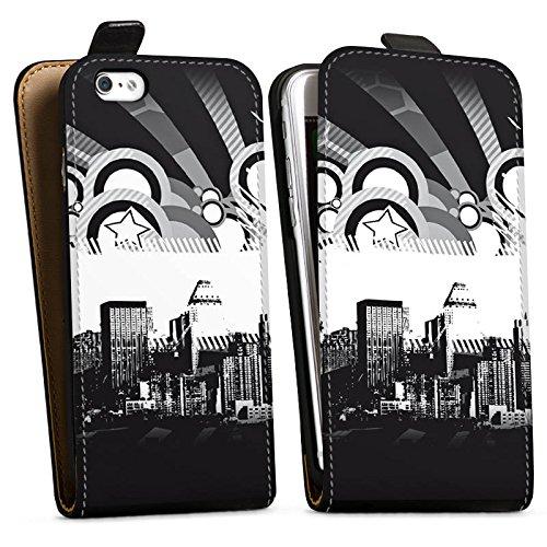 Apple iPhone X Silikon Hülle Case Schutzhülle Stadt Sterne City Downflip Tasche schwarz