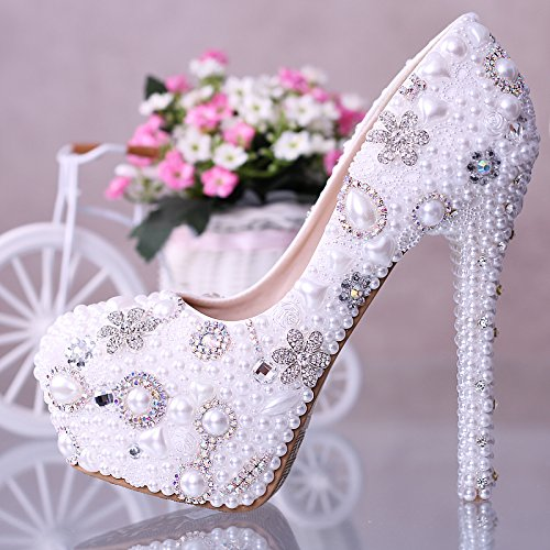 XIE Pattini di cerimonia nuziale delle donne / damigella donore e sposa / Perle di cristallo / tacco di Stiletto / piattaforma rotonda piattaforma impermeabile / sandali high-heeled / dance shoes 12CM