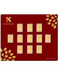 Kundan 11 gm (11 x 1 Grm), 24KT(999.9) Kalpataru Tree Yellow Gold Bar