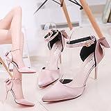 SHOESHAOGE Sweet Bow Tie High-Heel Schuhe Geschlitzten Lasche Detail Und High-Heeled Baotou Sandalen Rosa, Eu 40