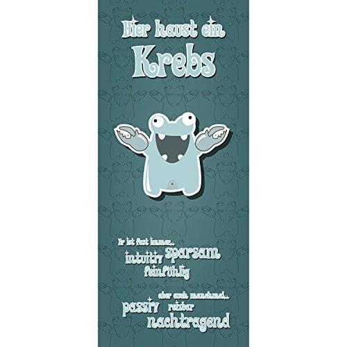 Krebs Kleines Poster (Lana KK - kleine Monster Krebs Petrol - Sternzeichen für Kinderzimmer, edel Türposter Türbild Türtapete Klebefolie, 86 x 198 cm)