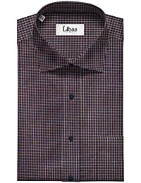 25697c135 Soktas Men s Giza Cotton Blue   Grey Micro Checks Unstitched Shirt Fabric  (Maroon 1.60