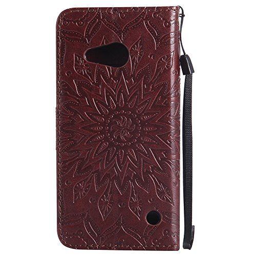Für Microsoft Nokia Lumia N550 Fall, Prägen Sonnenblume Magnetic Pattern Premium Soft PU Leder Brieftasche Stand Case Cover mit Lanyard & Halter & Card Slots ( Color : Brown ) Brown