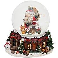 Bella palla di vetro con neve e scatola musicale, Disegno: Babbo Natale, circa 14,5 x 13,5 cm / Ø 10 cm