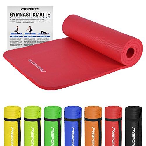 Gymnastikmatte Premium | inkl. Übungsposter | Hautfreundliche - Phthalatfreie Fitnessmatte - Rubinrot - sehr weich - extra dick - 190 x 60 x 1,5 cm Yogamatte