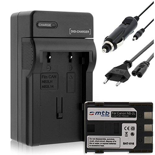 Batteria + Caricabatteria (Auto/Corrente) per Canon NB-2L / EOS 350D 400D / Rebel XTi / DC... MD.. MV... - vedi list