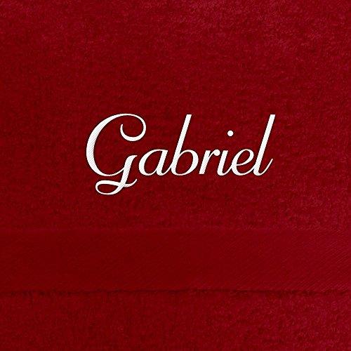 Handtuch mit Namen Gabriel bestickt, 50x100 cm, rot, extra flauschige 550 g/qm Baumwolle (100{9e831245231dc0dc8606f5af41a8e68c1375af57d2245cbc3af70721fa2b4f0c}), Badetuch mit Namen besticken, Duschtuch mit Bestickung
