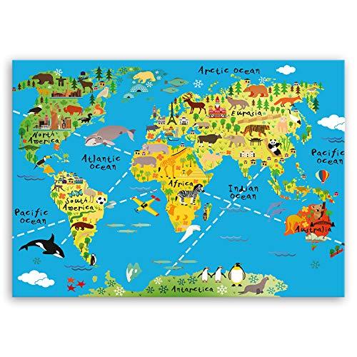 ge Bildet® hochwertiges Leinwandbild XXL - Weltkarte für Kinder - Hellblau - Bild für kinderzimmer - 100 x 70 cm einteilig 1465