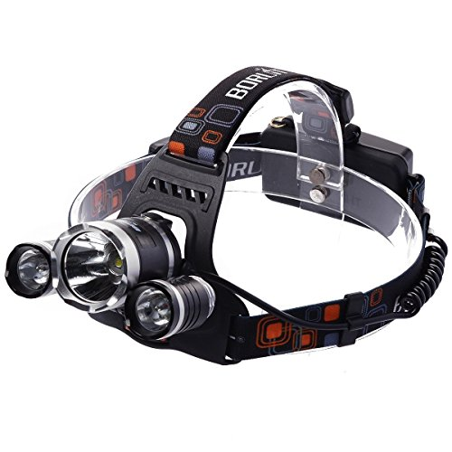 XCSOURCE Stirnlampe wiederaufladbar, LED-Taschenlampe, Super hell, USB Kabel für MTB Cycling Höhle Jagd Außen Camping Wandern LD273