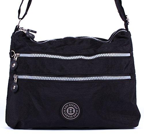 sportliche Handtasche / Schultertasche / Umhängetasche aus Nylon klein - erhältlich in verschiedenen Farben