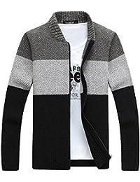 Zicac Herren Studenten Strickjacke Stehkragen langärmelige verschiedene Farbe Pullover Mantel