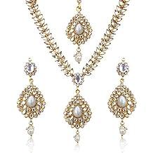 Parure style indien Kundan, collier et boucles d oreilles en forme de  goutte et 887ae328bd25