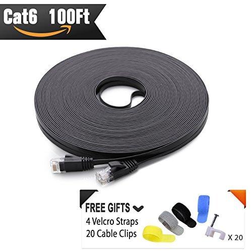 Cat 6Ethernet Kabel schwarz 100ft (bei CAT5e Preis, sondern höhere Bandbreite) flach Internet Netzwerk-Kabel-CAT6Ethernet Kabel Patch kurz-CAT6Computer Kabel mit Snagless RJ45Stecker -