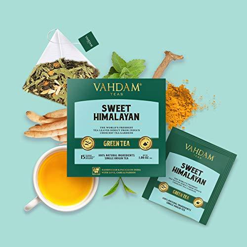 VAHDAM, süßer Himalaya Detox Grüner Tee | 30 Teebeutel (2er Set) | 100% natürlicher Detox Tee | Grüne Teeblätter, Stevia, Kurkuma, Shatavari, Kardamom, Ashwagandha | Gebraut als heißer Tee oder Eistee