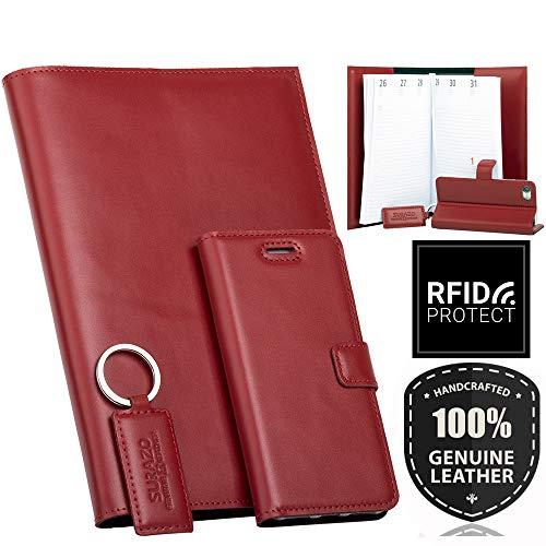 SURAZO Leder Geschenkset - Handy Schutzhülle, Kalender, Schlüsselring aus Echtesleder Costa Farbe Rot für Samsung Galaxy Note 8 (N950)