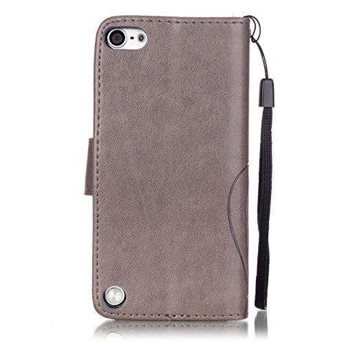 iPhone Case Cover Folio flip Case Stand, Case Wallet avec Cash et fente pour carte haut de gamme PU Housse en silicone en cuir pour iPod Touch5 6 ( Color : Blue , Size : IPod Touch5 6 ) Gray