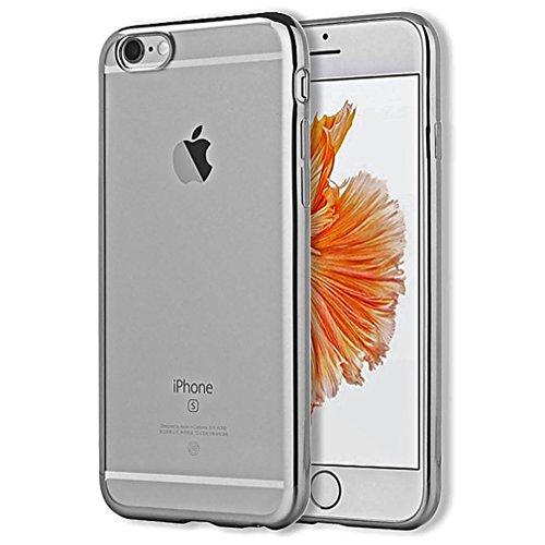iPhone 6S/6S Plus, XAiOX anti-rayures Premium TPU Case pour iPhone 6Plus (5,5)/(4,7) PLATING Étui de protection en silicone Crystal Case Transparent + film de protection blindé en verre véritable space gray