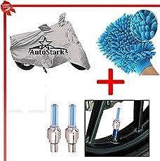 AutoStark Bike Body Cover Silver+Tyre Led Light Blue+Bike Cleaning Gloves for Bajaj New Avenger 220 Cruise