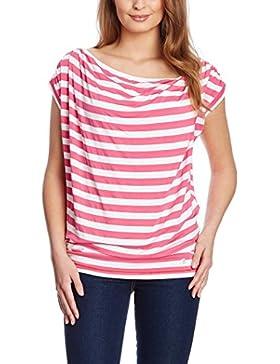XFORE camiseta a rayas, escote cascada, color fucsia y blanco