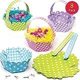 Baker Ross Kit di cestini primaverili (confezione da 8) - Creazioni pasquali per bambini, da realizzare e utilizzare per la caccia alle uova di Pasqua