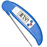 Meat Thermometer, COOLEAD® Foldable Ultra Fast Instant Read Digital Thermometer Temperature Gauge for Kitchen Candy / Meat Cooking, BBQ, Poultry, Gril (Blue)