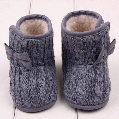 Chaussures Bébé Clode®Bébé bowknot douce Sole hiver Chaussures chaudes Bottes (6-9 Mois, Gris) Gris