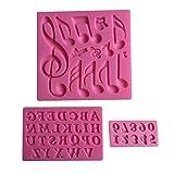 Karen Baking Un ensemble de note de musique et 26 Anglais Lettre Forme 3D Silicone Fondant Moule Rose