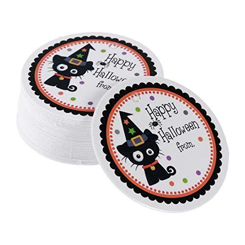BESTOYARD Happy Tags rund schwarz Katze Nachricht Karten mit Loch (Gift Halloween Wein-etikett)