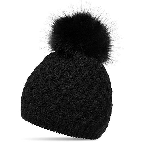 CASPAR MU177 Bonnet en tricot doublé pour femme - bonnet avec torsades et gros pompon en fausse fourrure, Couleur:noir;Taille:One Size