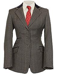 Shires Huntingdon Veste pour femme Bordure en velours–Vert/carreaux