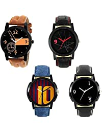 Xforia Boys Watch Black, Blue & Brown Leather Fancy Analog Watches For Men Pack Of 4