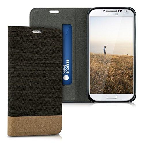 kwmobile Funda Flip Case para Samsung Galaxy S4 - Funda protectora Bookstyle de polipiel y tela en antracita
