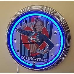 Neon reloj–Pinup Martini Racing–Iluminación Neon Azul–También Disponible en otros colores Neon.