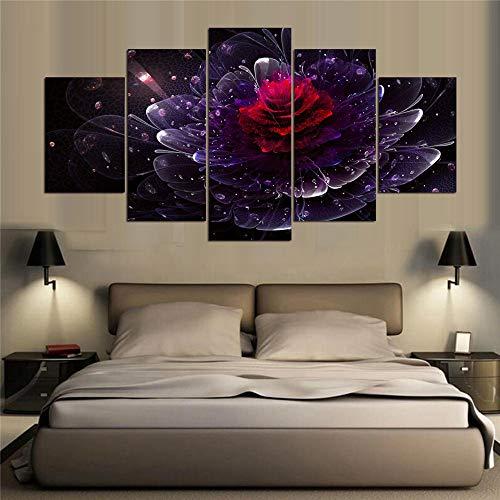 Dekorative Malerei,Raum fünf Kampf abstrakte Blumen Blumen hängen Malerei Tusche Malerei Hause Wandmalereien modernen Stil 18 Malerei Kern 30x40cmx2 30x60cmx2 30x80cmx1 (Gesicht Minion Malen)