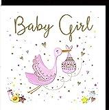 """ZIZI Cards LuLu Glückwunschkarte zur Geburt """"Baby Girl"""" - veredelt durch Prägung und farbige Folienauflage mit hochwertigem Umschlag im Format 15x15cm LU420"""